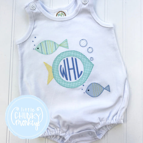 Unisex Sun Bubble - Monogram Fish Trio on White Sun Bubble
