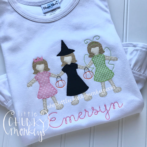 Girl Outfit - Girl Halloween Shirt - Personalized Girl Trick or Treat Trio Shirt