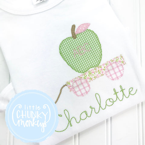 Girl Shirt - Wagon with Apple and Personalization