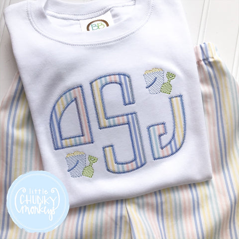 Boy Shirt - Applique Monogram with Mini Sand Buckets
