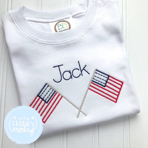 Boy Shirt -  Vintage Stitch American Flag with Personalization