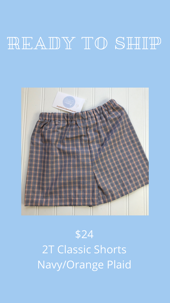 Ready to Ship - Navy/Orange Plaid - 2T Classic Shorts