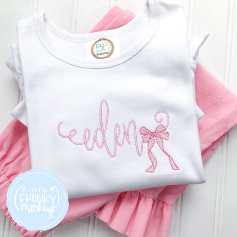 Girl Shirt - Stitched Name with Pink bow
