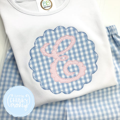 Girl Shirt - Scallop Applique Patch Initial