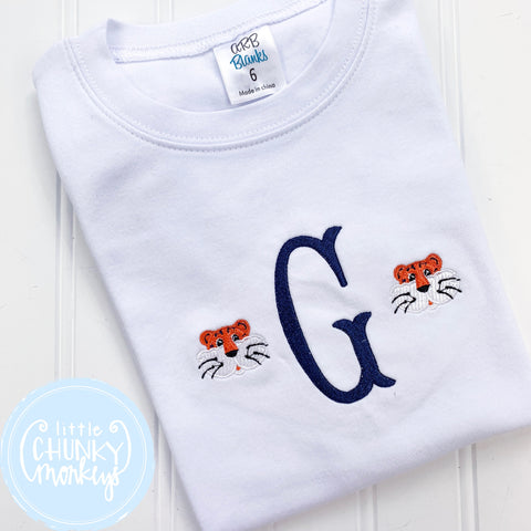 Boy Shirt - Tiger Single Initial Monogram Shirt