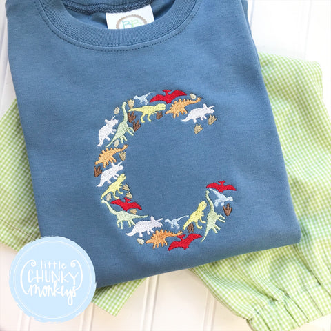 Boy Shirt - Dinosaurs Embroidery Initial