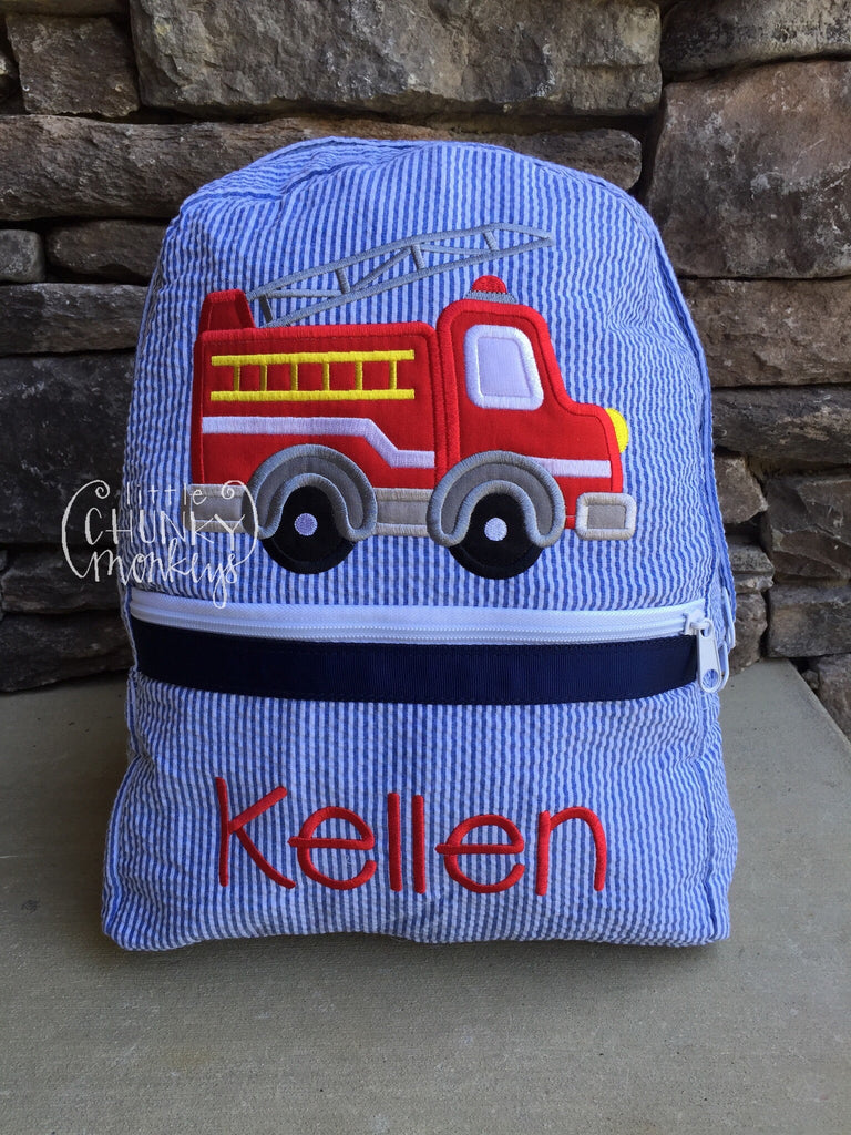 Backpack + Fire Truck Applique Design on Navy Seersucker