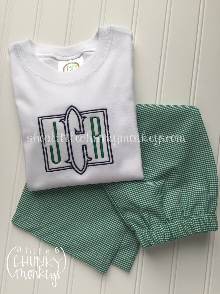 Boy Outfit - Boy Shirt - Personalized Navy & Green Monogram Tee