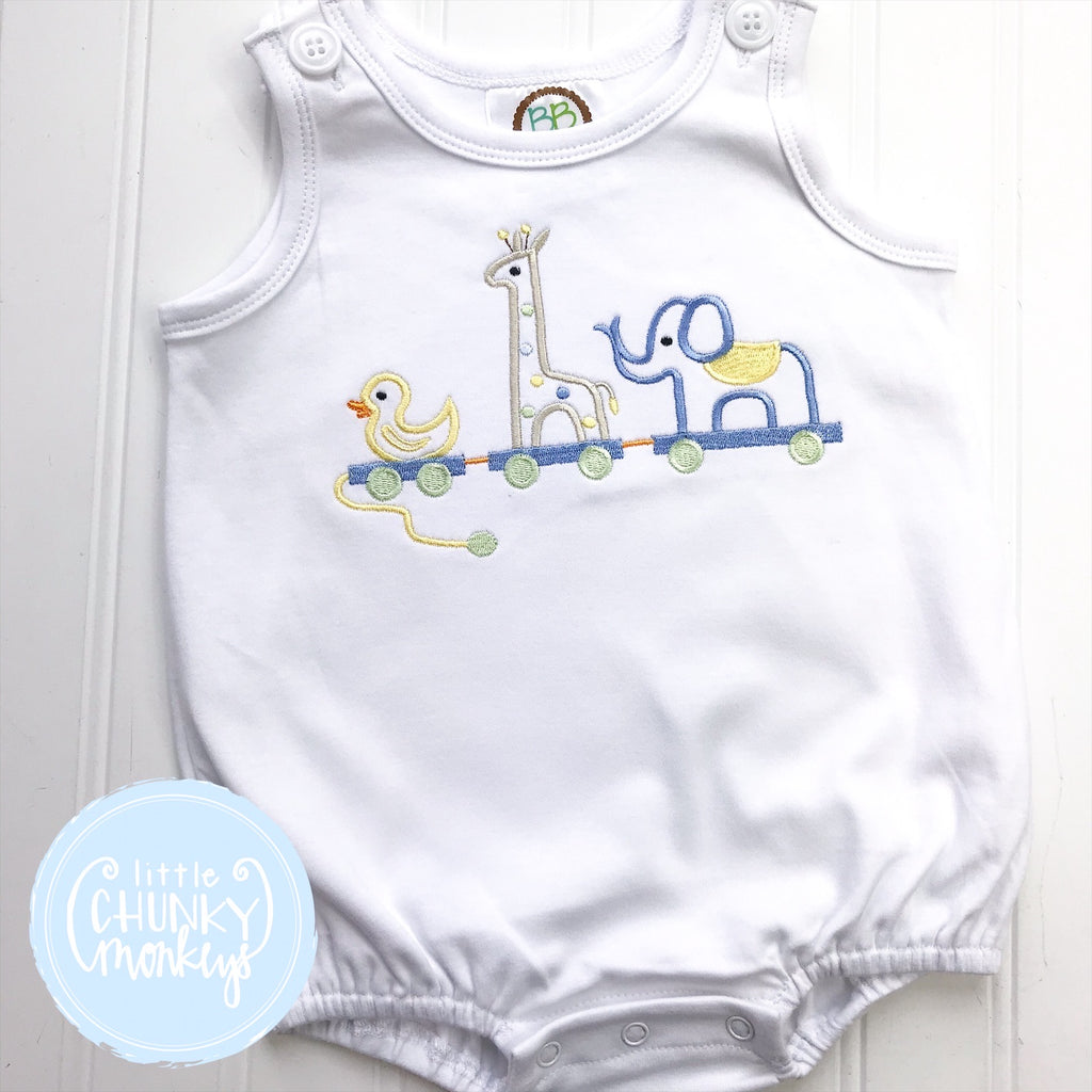 Boy Sun Bubble - Embroidered Animal Trio on White Sun Bubble