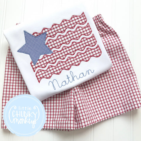 Boy Shirt - Boy Patriotic Flag with Star