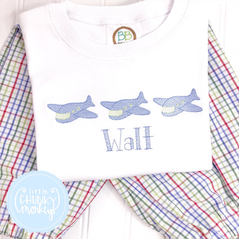 Boy Shirt - Embroidered Airplanes on White shirt
