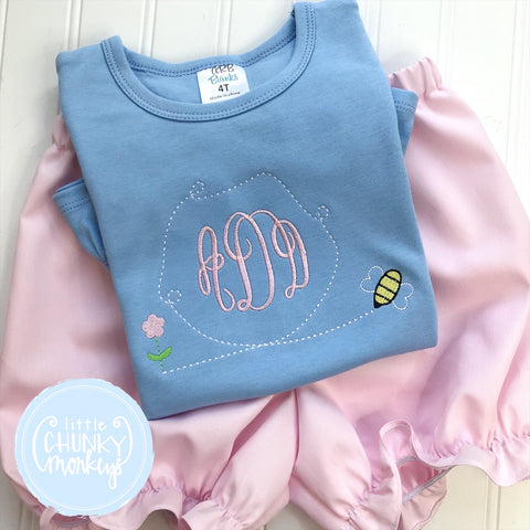 Girl  Shirt - Embroidered Monogram Tee with Honey bee on Light Blue Shirt