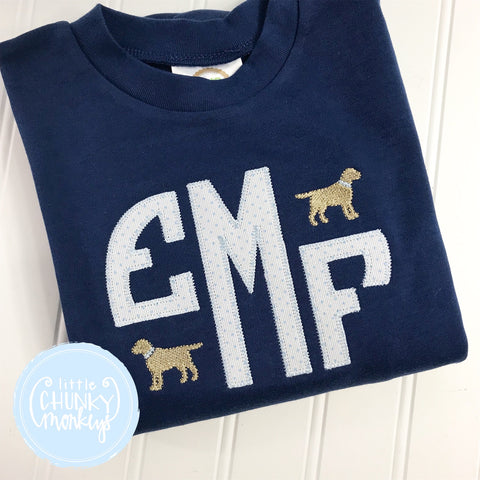 Boy Shirt - Applique Monogram with Mini Dog on Navy Shirt