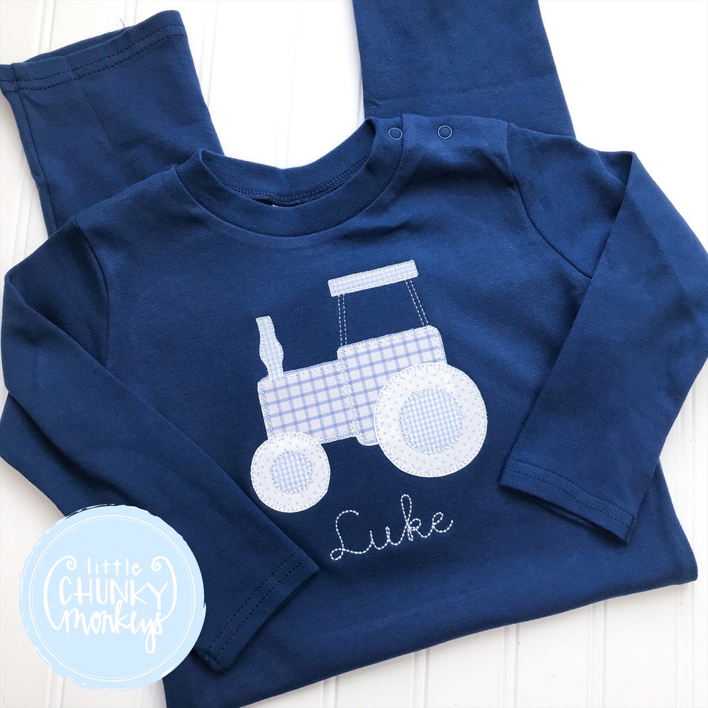 Boy Outfit - Boy Long Sleeve Romper - Applique Tractor on Navy Romper