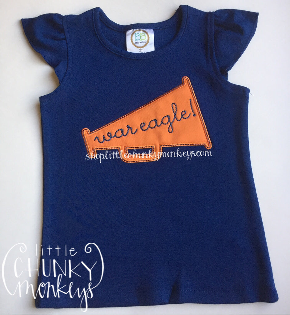 Girl Shirt- Personalized Megaphone Applique Tee on Navy Shirt