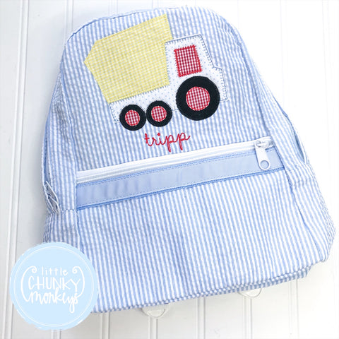 Backpack + Gingham Appliqué Monogram on Light Blue Seersucker