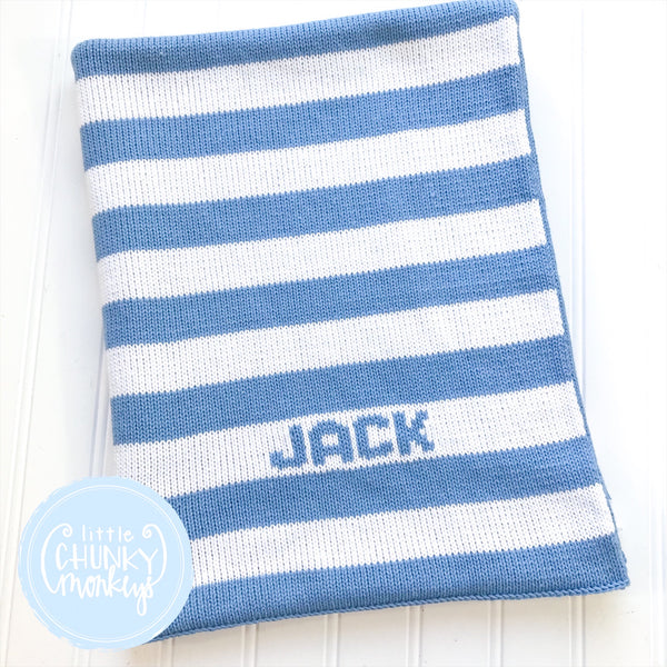 Custom Knit Stripe Stroller Blanket