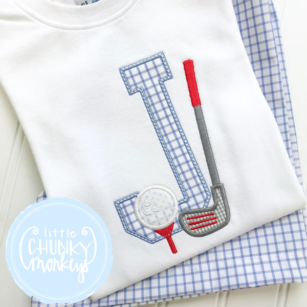 Boy Shirt - Boy Golf Shirt - Golf Initial on White Shirt