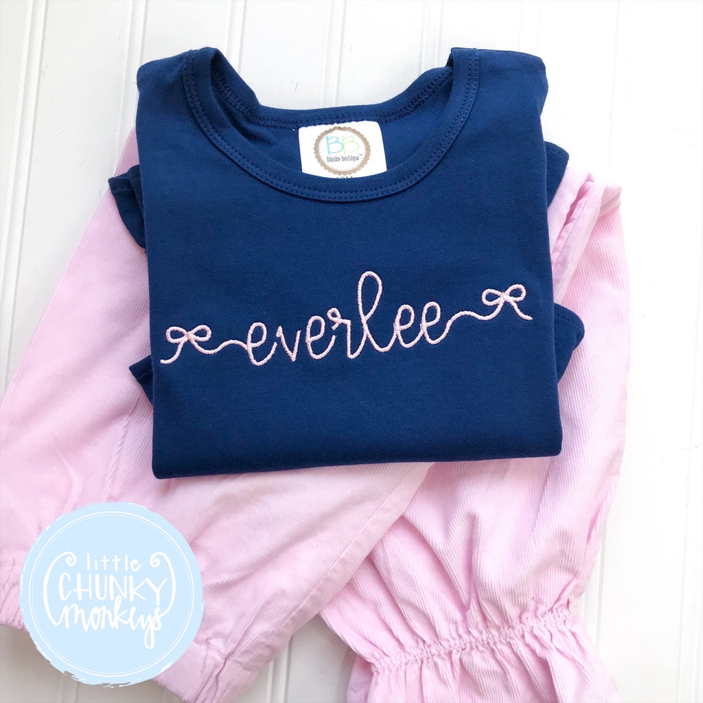 Girl Shirt - Bow Personalization on Navy Shirt