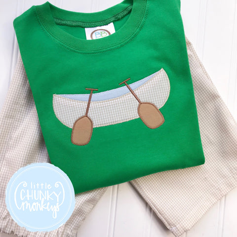 Boy Shirt -  Canoe Appliqué on Kelly Green Shirt