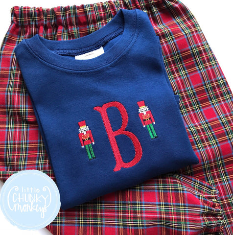Boy Shirt - Boy Christmas Nutcracker Shirt - Mini Nutcracker with Initial on Navy Shirt