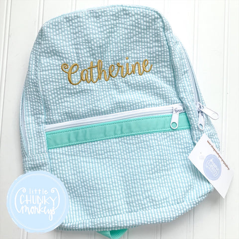 Backpack + Personalization on Mint Green Seersucker