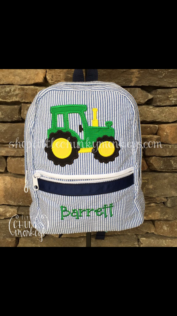 Backpack + Tractor Appliqué Design on Navy Seersucker