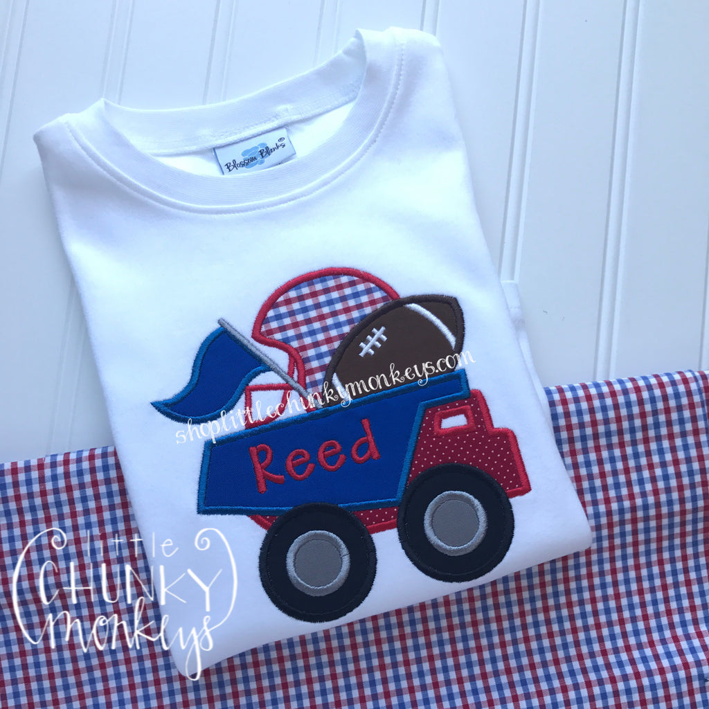 Boy Shirt - Boy Football Shirt - Personalized Football Dump Truck Applique Shirt - Royal & Red