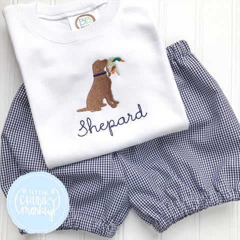 Boy Shirt - Embroidered Dog with Mallard on White shirt