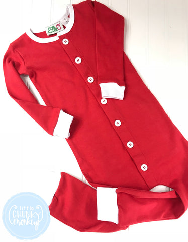 Pajama Set Toddler/Kids - Red One Piece Button Bottom