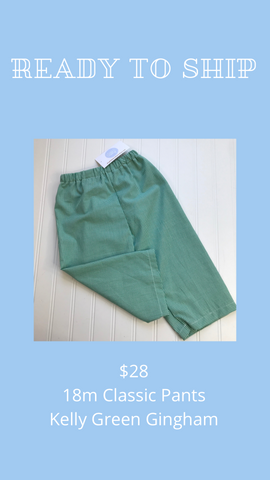 Ready to Ship - Kelly Green Gingham - 18m Classic Pants
