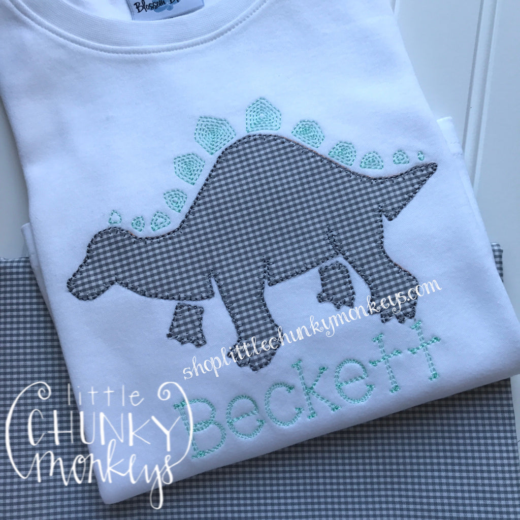 Boy Outfit - Boy Shirt - Personalized Grey/Mint Dino Shirt