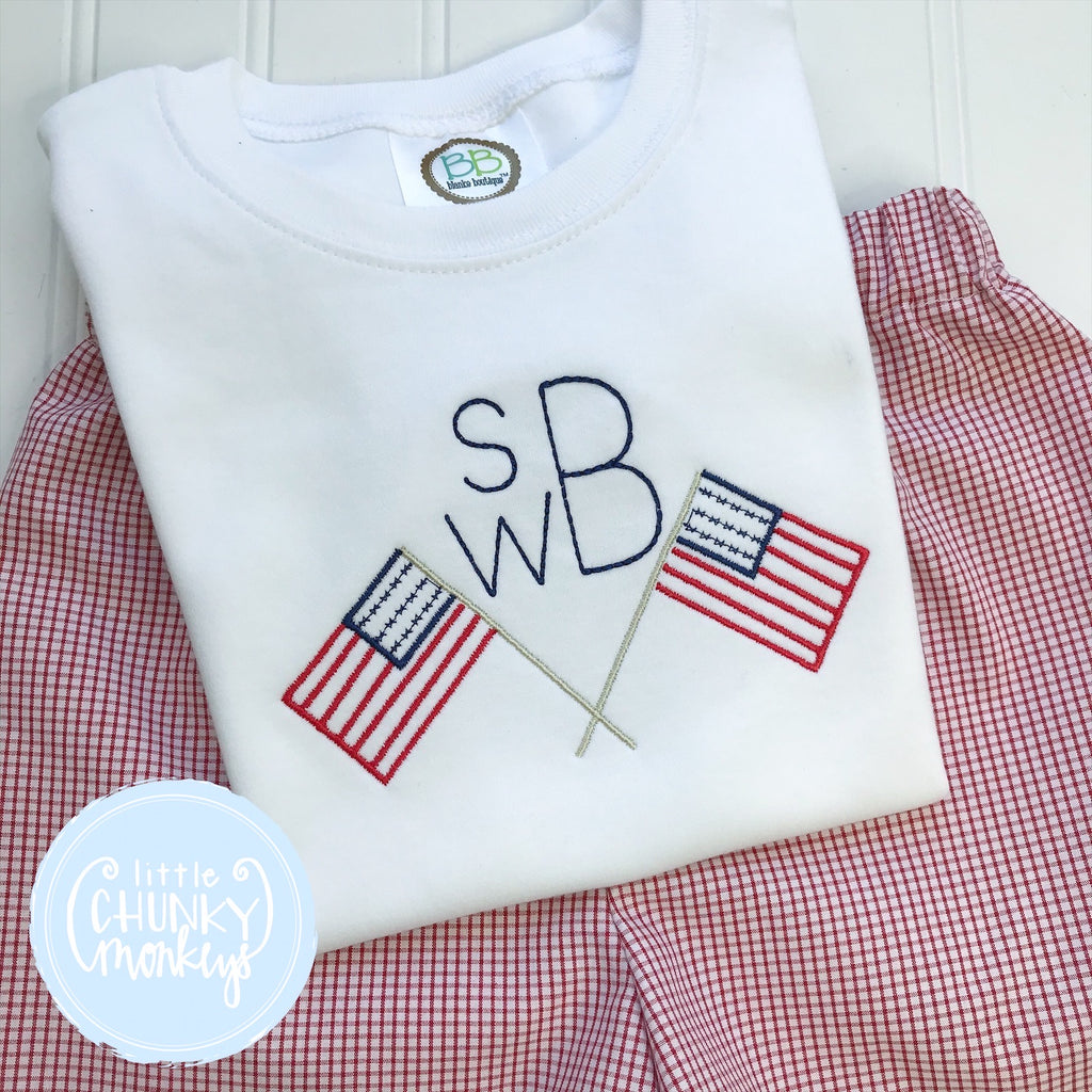 Boy Shirt - Personalized Patriotic on White Shirt