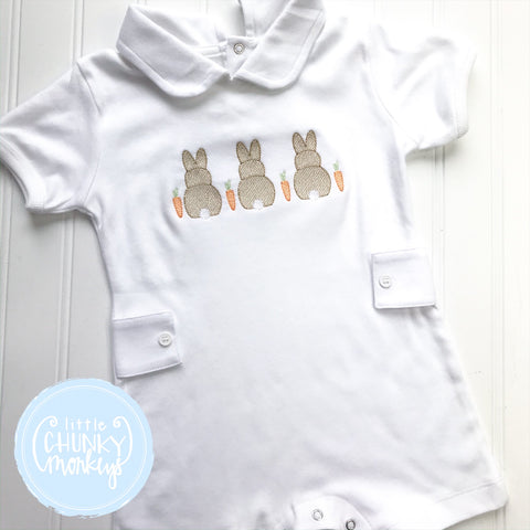 Boy Peter Pan Romper with Bunny Trio