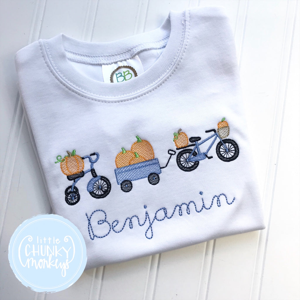 Boy Shirt- Bicycle and Wagon Parade filled with Pumpkins