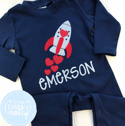 Boy Valentines Romper - Valentine Rocket on Navy Romper