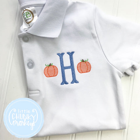 Boy Polo Shirt - Initial with Pumpkins