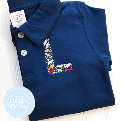 Boy Polo Shirt - Dinosaur Embroidery Initial