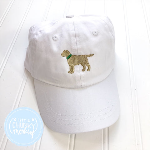 Toddler Kid Hat - Standing Lab Puppy with Green Collar on White