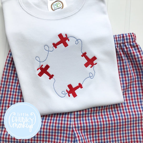 Boy Shirt - Airplane Monogram Frame
