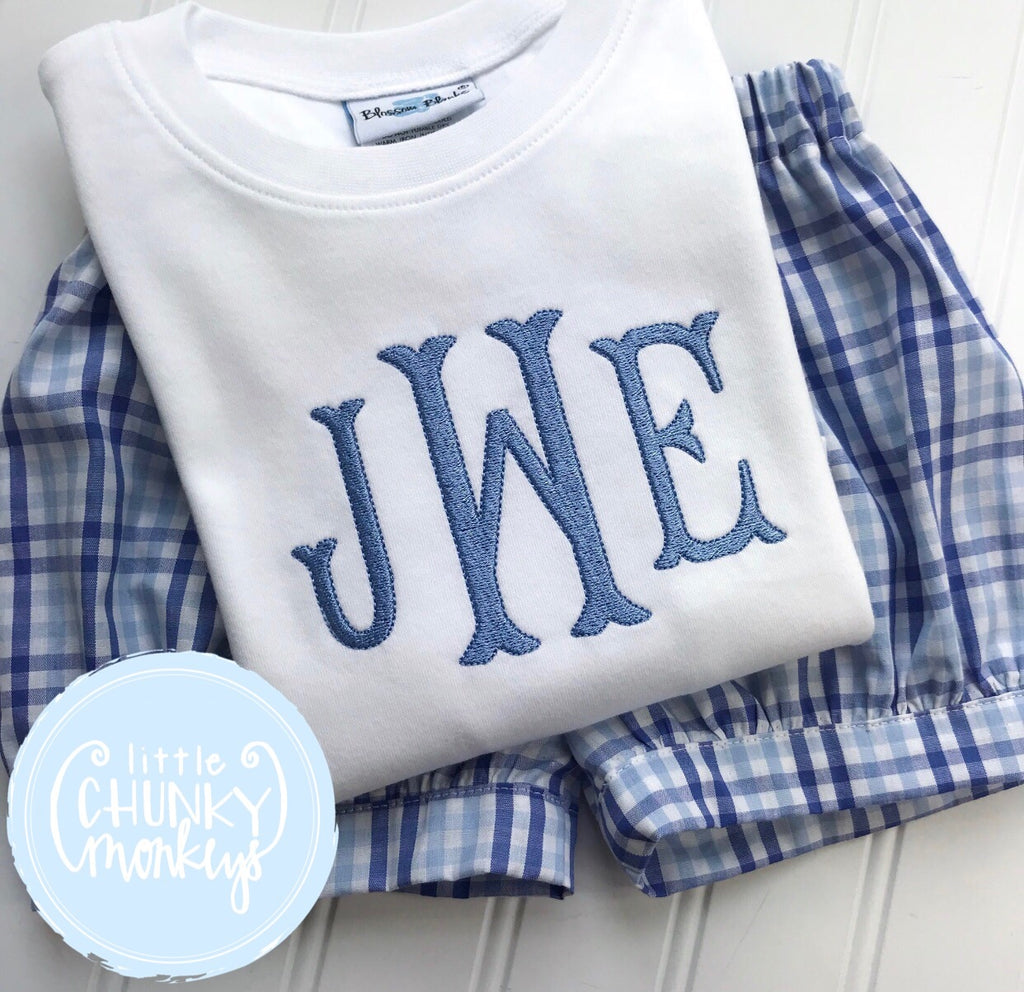 Boy Shirt - Boy Monogran Shirt in Light Blue