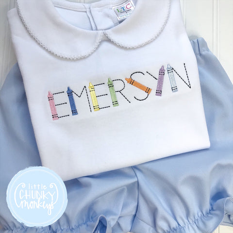 Girl Peter Pan Collar Shirt -  Embroidered Back to School with Personalization