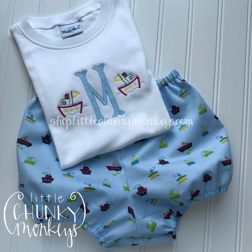 Boy Shirt - Boy Summer Shirt - Mini Tugboat with Fishtail Initial