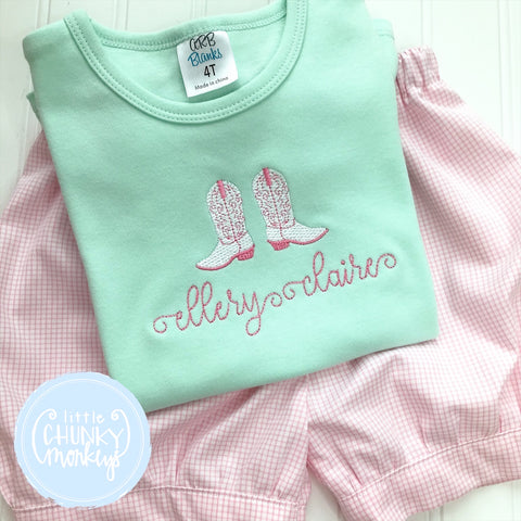 Girl Shirt - Vintage Stitch Cowgirl boots with Personalization on Mint Green Shirt