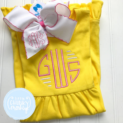 Girl Dress - Circle Monogram on Yellow Short Sleeve Dress