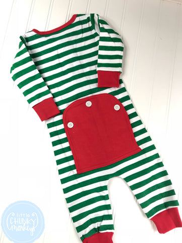 Pajama Set Toddler/Kids - Green Stripe One Piece Button Bottom