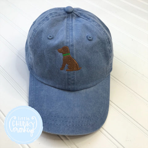 Toddler Kid Hat - Chocolate Dog on Blue