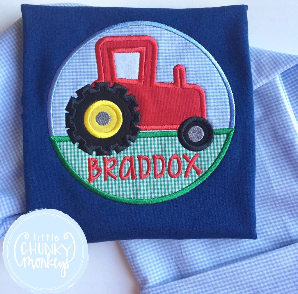 Boy Shirt - Tractor on Navy Shirt