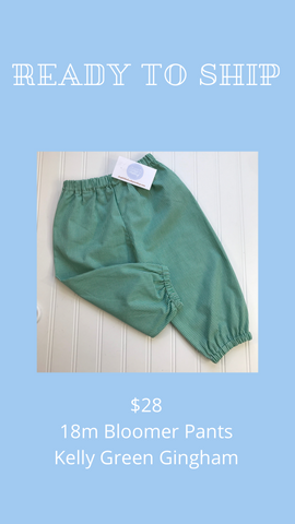 Ready to Ship - Kelly Green Gingham - 18m Bloomer Pants