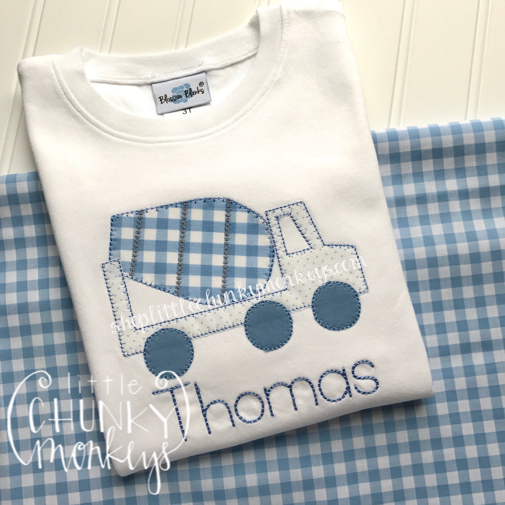 Boy Outfit - Boy Transportation Shirt - Cement Mixer Shirt